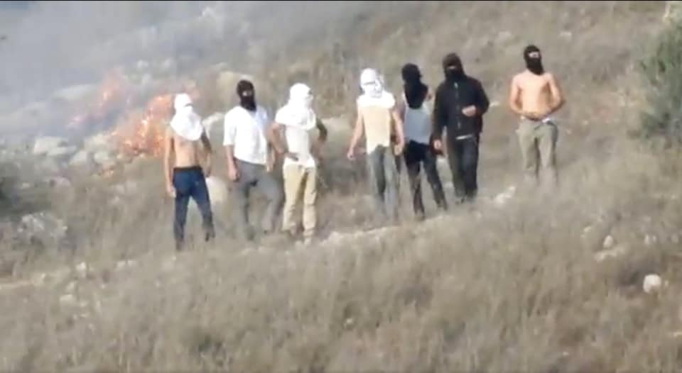 Masked settlers set fire to Palestinian fields. (Photo from Peace Now Facebook post)